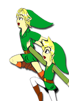 Young and Toon Link by NekoKai03