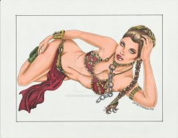 Slave Leia WIP 2 by SunsetRising-Art