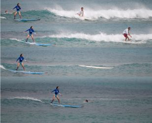 Blue Lady Surfing, Waikiki, 2006.9.1 by Dancing-Treefrog
