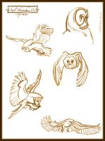 Owl Sketches 02 by Cre8tivemarks