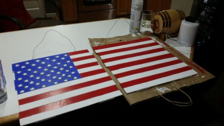 Old Glory, Wood American Flag 2 Pcs by FTSArts