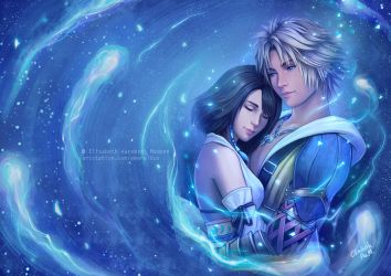Final Fantasy X - Tidus and Yuna Wallpaper version by Emeraldus
