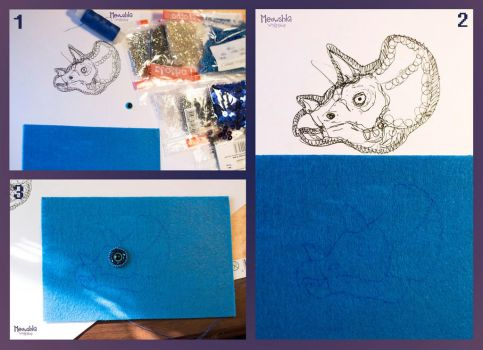 MASTER CLASS #7: Triceratops Brooch by miaushka-workshop