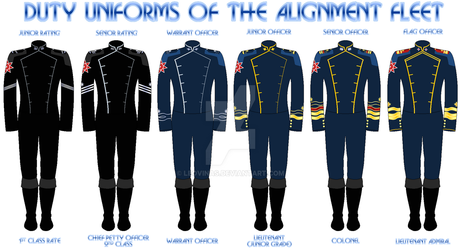 Sci-Fi: Alignment Fleet Uniforms by Leovinas