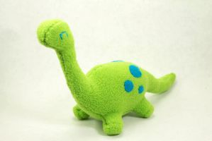 Lime Green Dino Plush with Blue Spots by BeeZee-Art