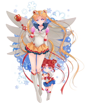 Collaboration: Sailor Moon and Sailor Chibi Chibi by Rurutia8