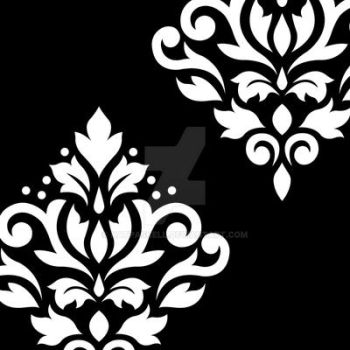 Scroll Damask Art I White on Black by NatPaskell