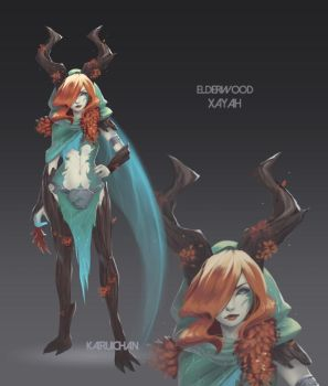 Elderwood Xayah [League] Concept by Kairui-chan