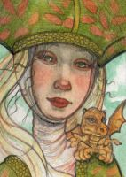 Medieval Lady and Dragon by WhimsicalMoon