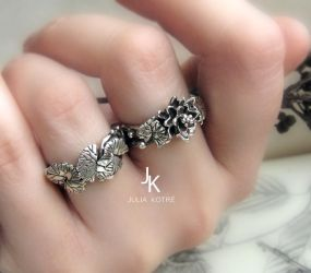 Cast silver lily and lily pad rings by JuliaKotreJewelry