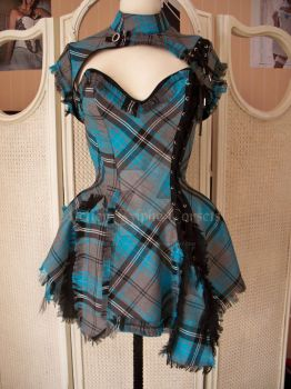 corset dress blue black tartan by AtelierSylpheCorsets