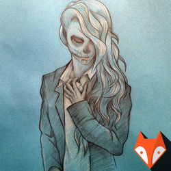 Girl with makeup in the form of the skull, freehan by kvartalist