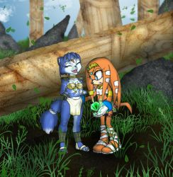 Krystal and Tikal in the ruins by BlackBy