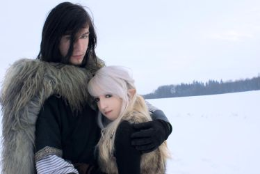 Couple Stock, snow elf+ viking by Liancary-art