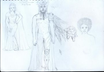Sketch - male valkyrie and others by Idryll