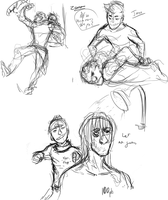 Recruit VS Leader Sketches by Celaxx