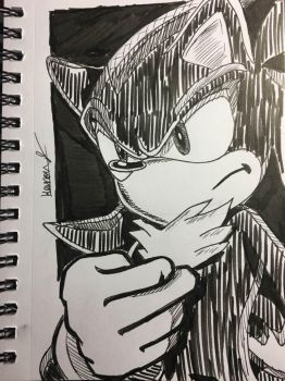 Shadow the Hedgehog (Ink Art) by Gaming-Master