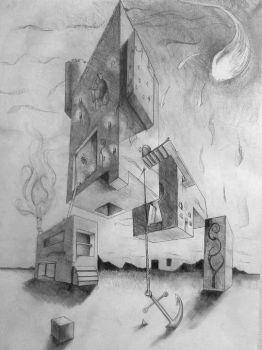 Surreal Perspective Drawing by FuzzyMachineGuns
