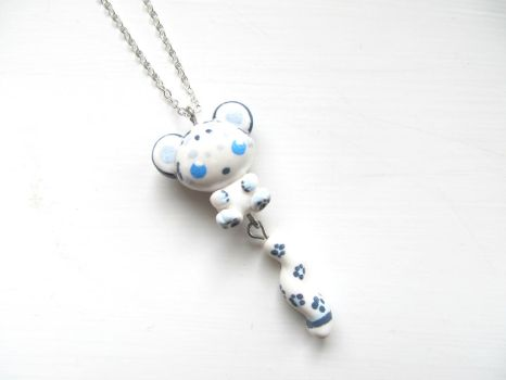 Snow Leopard Necklace by DapperLittleMagpie
