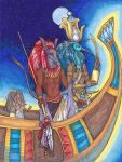 Set and Djehuty - Defenders of the Solar Barque by metallic-feather