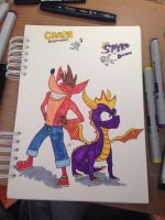 Crash Bandicoot  Spyro the Dragon by The-Art-Work-of-Eren