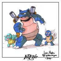 Inktober Day-01  Blastoise by Spidersaiyan
