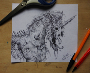 Undead Unicorn by nightfuryscars