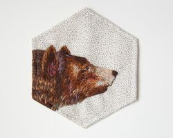 Hand embroidered bear patch by Avaril