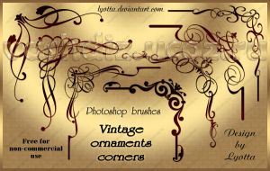 Vintage ornaments corners. Photoshop brushes by Lyotta