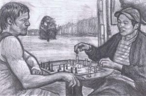 Daryl and Glenn playing chess by gagambo