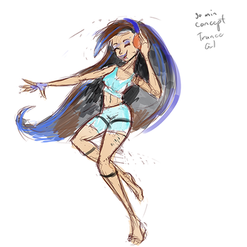 30 minutes Trance Music Girl sketch by Ansem1000