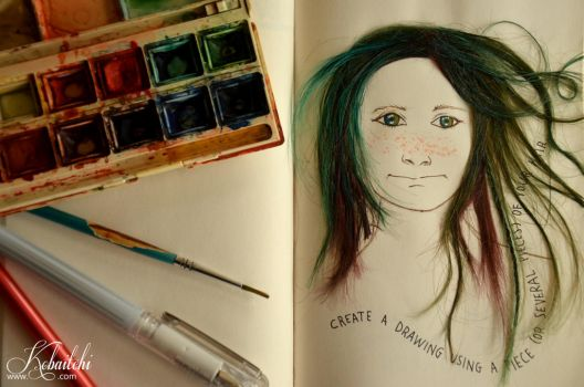 Wreck This Journal - Drawing with your hair by Kobaitchi
