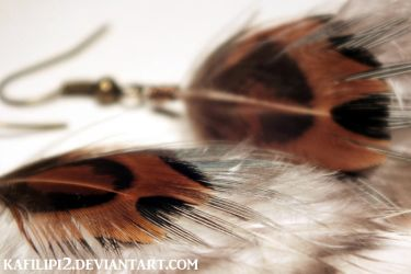 Bronzed and Banded Feather Earrings by kafilipi2
