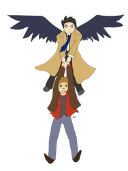 Destiel [transparent] by BackFromHell666