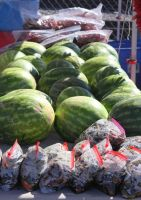 Watermelons and Bagged, Roasted Chile by tmulcahy
