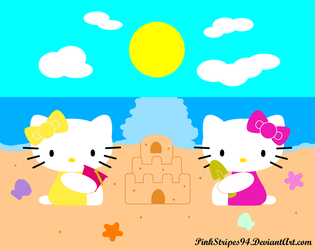 Kitty and Mimmy at the Beach by PinkStripes94