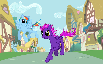 Showing speed to Rainbow Dash by cayfie