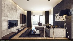 Modern Rustic Living Room 1 by vermillion3D