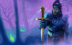Uther Pendragon Excalibur by andresmoreno