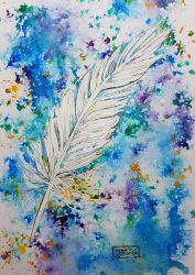 World Watercolor Month - Day 30 (Feather) by Harmony1965