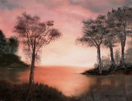 Trees at Sunset by Natan-Estivallet
