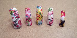 Kimono Print Themed Nails by CourtHouse