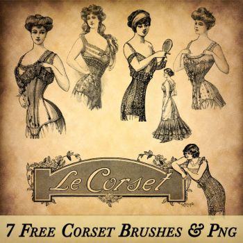 Vintage Corset Brushes and PNG by starsunflowerstudio