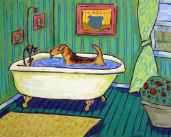 Airedale Terrier Taking a Bath by jSchmetz