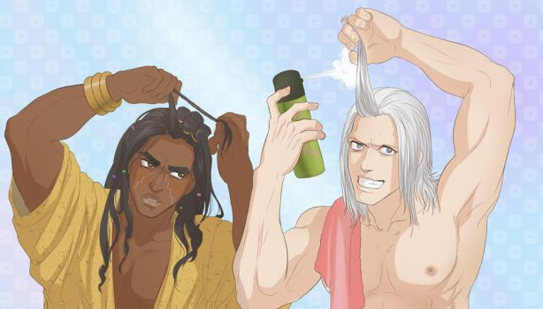 Avdol and Polnareff doing hair by Autumn-Sacura
