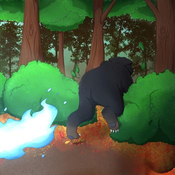 Commission: Princess Libby Bear Fleeing by foxhat94