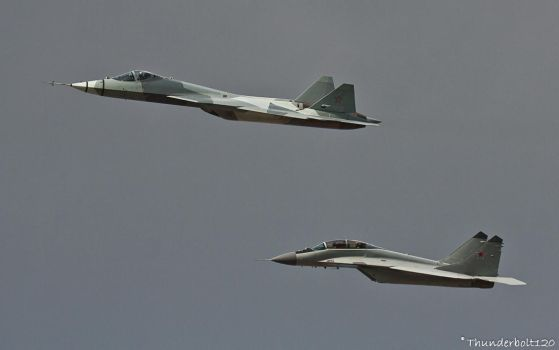T-50 and Mig-29M2 by Thunderbolt120