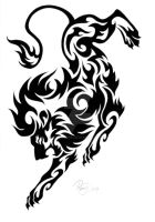 Tribal Lion Tattoo Design by bexyboo16