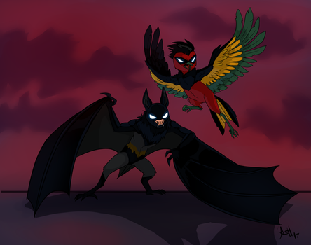 Bat and Robin by Skeleion