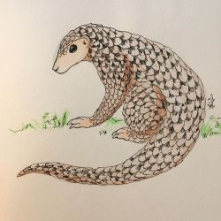Inktober day 10 - Chinese pangolin by DRGNFL
